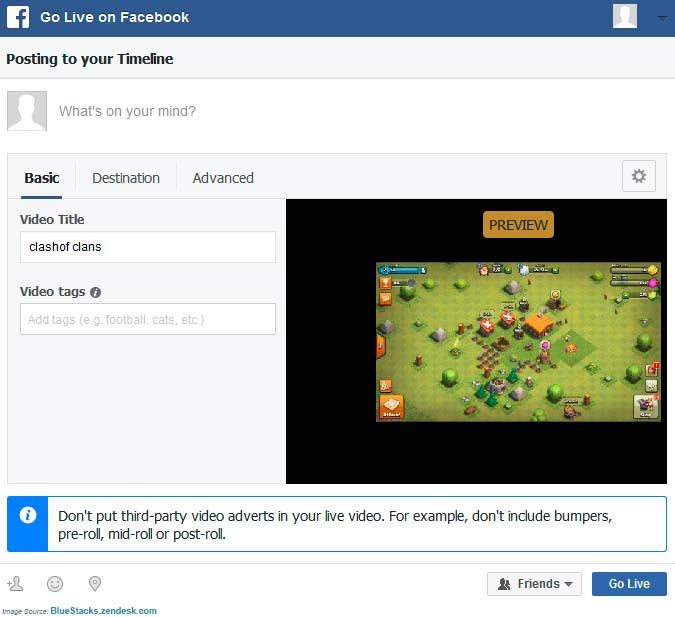 Stream BlueStacks TV Using Facebook Live