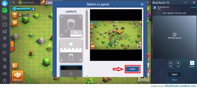 Select the layout with BlueStacks Facebook Live