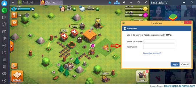 Sign in OR sign up Facebook with BlueStacks