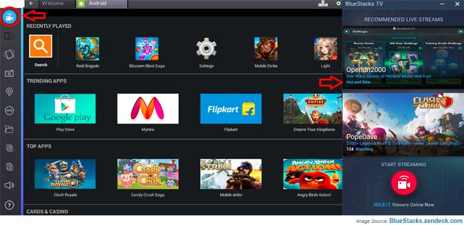 Video icon in BlueStacks