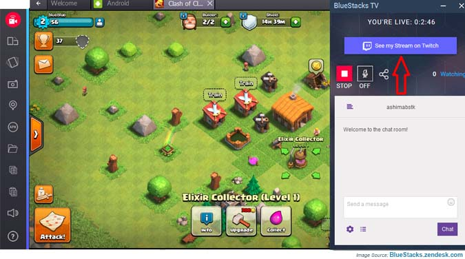 Watch your BlueStacks stream with Twitch
